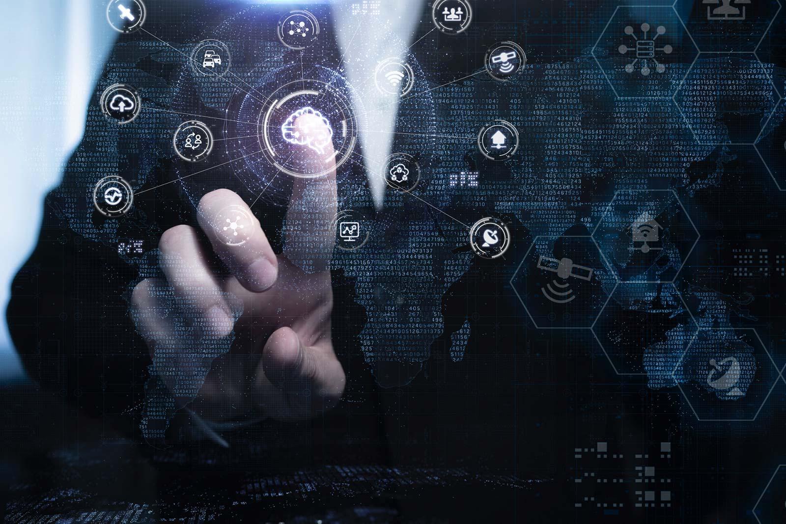 人の指をモチーフとするITネットワークのイメージ画像