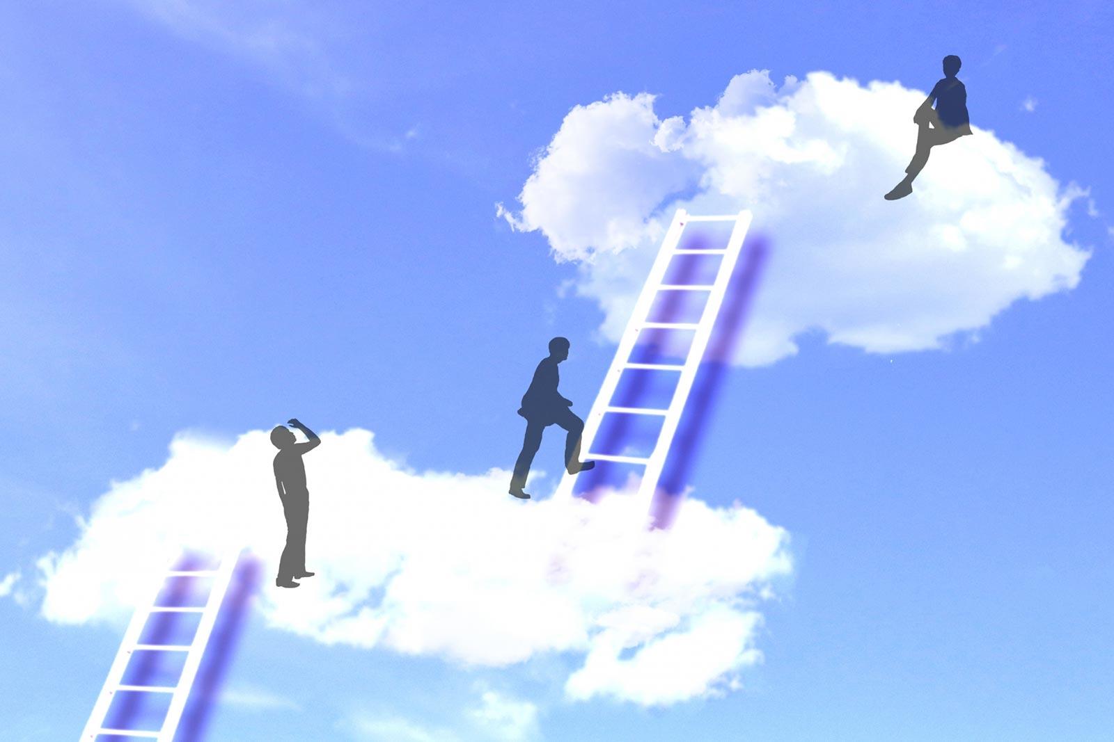 雲に梯子をかけたイメージ画像